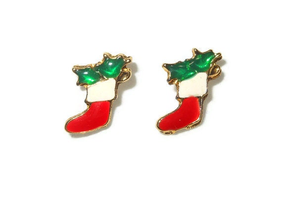 Christmas stocking earrings, small enamel Christmas stocking studs