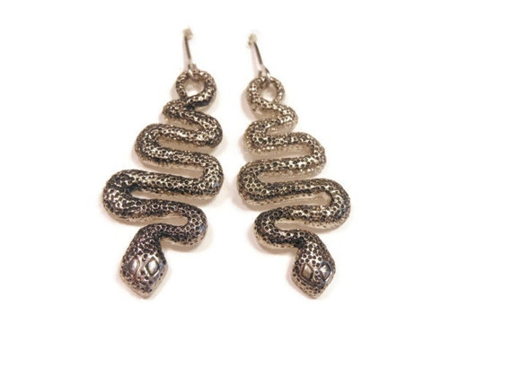 Snake earrings on original card, 1980s Claire's silver tone french hook earrings, faux marcasite