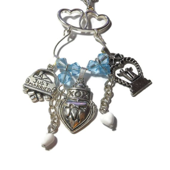 Just married necklace, hearts charm holder, Just Married car, couple XOX, cake topper, blue Swarovski crystals, silver plated