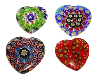 Millefiori heart pendants, sold individually, top drilled. range from 30mm to 35mm