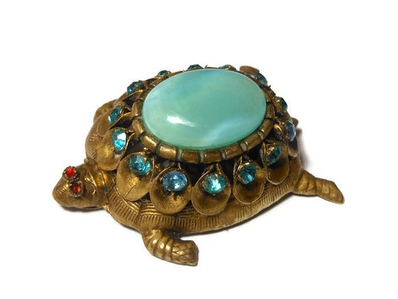 1920s Bohemian turtle brooch, marked Czecho, Gablonz style blue glass, blue rhinestone crystals, brass body, ruby rhinestone eyes