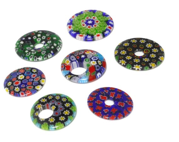 Millefiori pendants, round, sold individually, donuts, go-gos, top drilled and 1/2 drilled. Range from 30mm to 40 mm