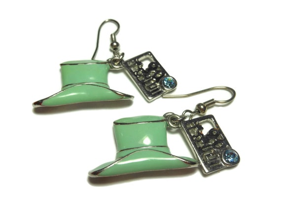 Green hat earrings, enamel top hat, silver trim, dangling cut work rectangle, blue rhinestones, french hook, silver plated