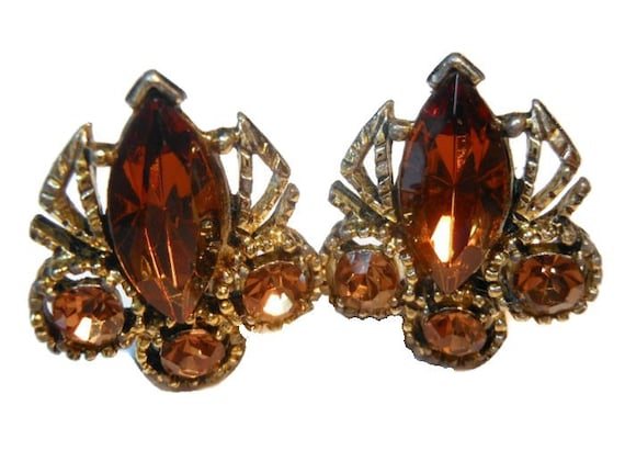 Amber rhinestone earrings - Juliana style prong set clip earrings perfect for wedding or prom