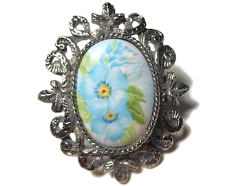 Hand painted pendant brooch, floral interchangeable pendant brooch blue flowers in antiqued silver setting cameo