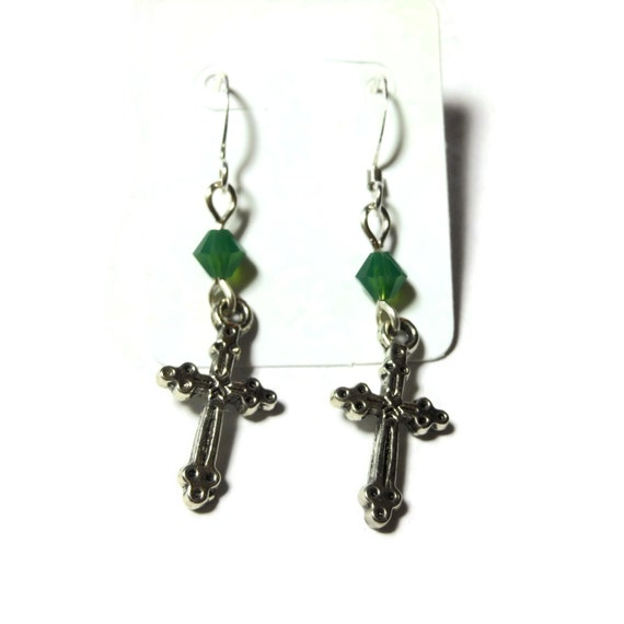 Small cross earrings, silver tone crosses, silver plated french wires, choice 4 colors of Swarovski crystals, pierced earrings