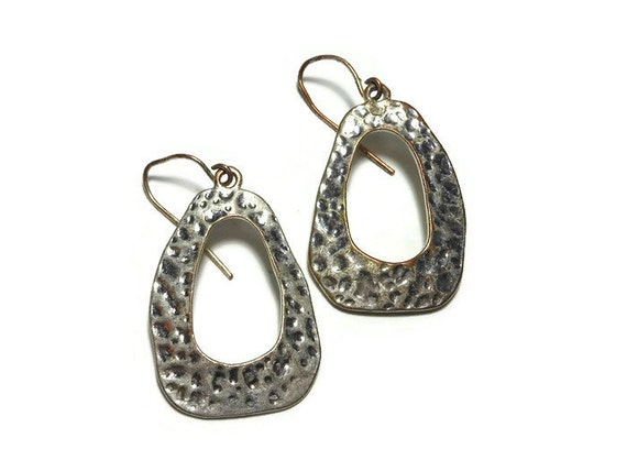 Hammered earrings,  silver plated, handmade circa 1970s silver over copper with french wires