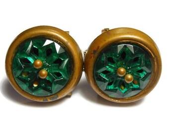 Edwardian brass buckle, belt sash or dress Buckle, green molded Czech Bohemian art glass, brass frame and small brass beads on top, vintage