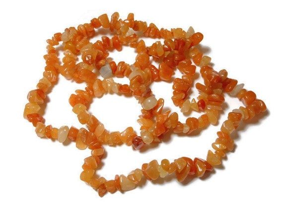 Red aventurine necklace, medium chip beads, natural gemstone, 34 inch strand, chips range from small to large, necklace or supplies
