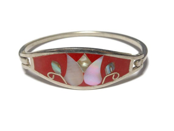 Alpaca Mexican hinged bracelet, red glitter enamel, mother of pearl (mop) & abalone shell insets, Alpaca silver, marked Mexico, vintage