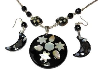 Lip shell necklace earrings, Celestial moon stars, mother of pearl, black resin, Czech lampwork glass beads, silver plated, handmade