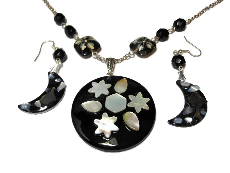 Lip shell necklace earrings Celestial moon stars mother of image 0