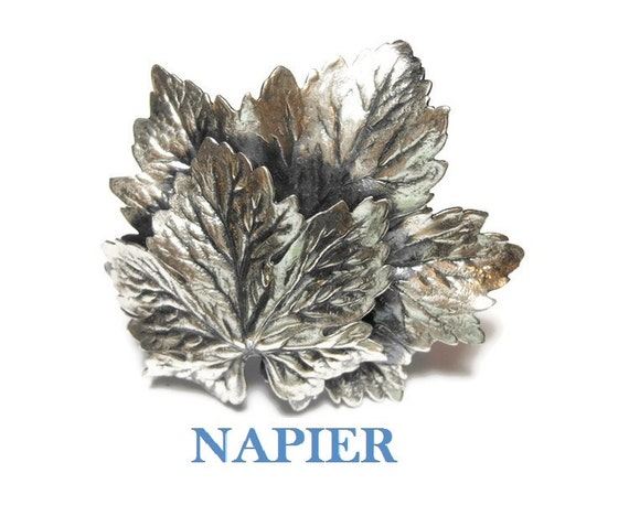 Napier grape leaves brooch, large antiqued silver plated double grape leaf with intricate details
