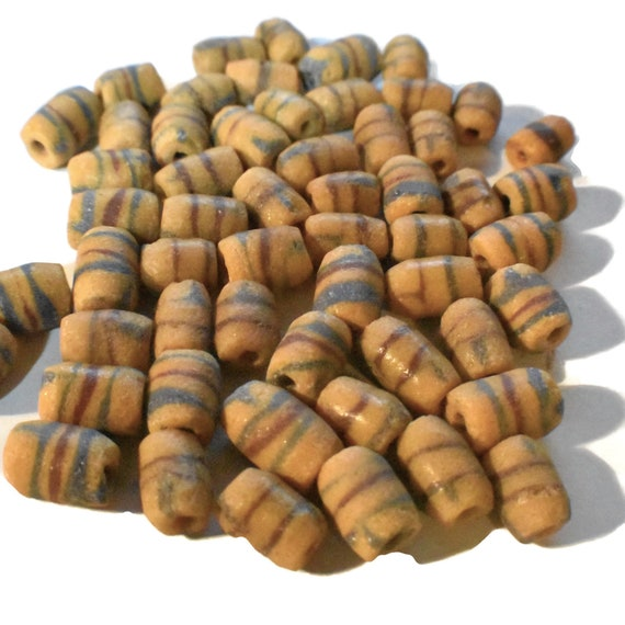 African Ghana vintage sandcast glass trade beads, 1 random group of 10, West Coast of Africa, terracotta red and blue  striped