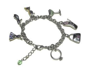 Fashion charm bracelet, silver links, crystal rhinestones, dress heels sunglasses martini cell phone purse ring, green blue pink gold red