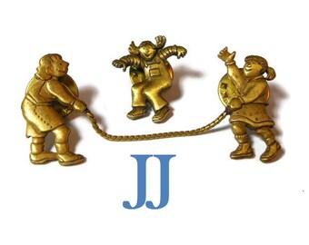JJ jump rope broochs, Jonette Jewelry, 3 girls playing hopscotch lapel pins, bronze color, three pins make one scene