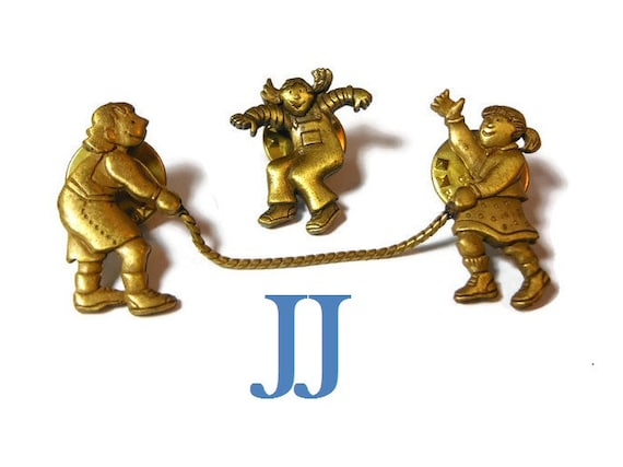 JJ jump rope broochs, Jonette Jewelry, 3 girls playing hopscotch lapel pins, bronze color, three pins make one scene