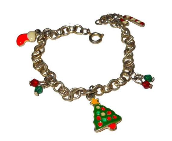 Christmas charm bracelet, colorful enamel charms on a silver tone link bracelet