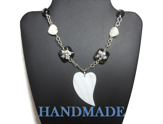 Heart necklace pendant, mother of pearl heart beads MOP, vintage black glass, Czech crystal lampwork floral beads