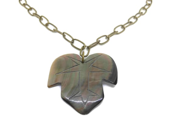 Black lip leaf pendant, hand carved black lip shell leaf pendant, matched with bronze chain, reversible