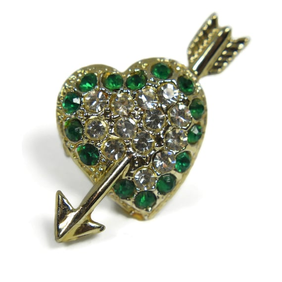 Small heart scatter pin, clear pave rhinestone center, green rhinestone outline, arrow through, tie tack tac, lapel pin