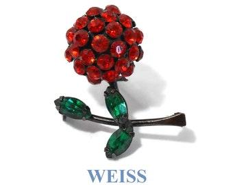 Weiss rhinestone brooch, dark red ball floral pin, black japanned enamel, green navette rhinestone leaves, very unique, very rare