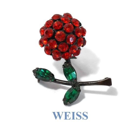 Weiss rhinestone brooch, dark red ball floral pin, black japanned enamel, green navette rhinestone leaves, very unique, very rare