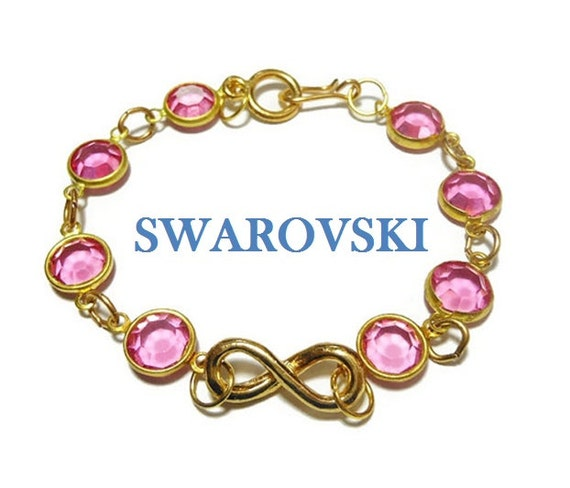 Infinity Swarovski crystal bracelet, pink crystal, faceted crystals link bracelet with infinity focal, easy hook latch, gold tone, handmade