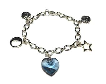 Celestial charm bracelet, denim blue Swarovski crystal heart focal sun moon stars charms silver plated wedding something blue, handmade