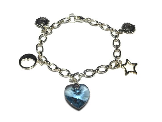 Celestial charm bracelet, denim blue Swarovski crystal heart focal sun moon stars charms silver plated rolo chain romantic wedding something