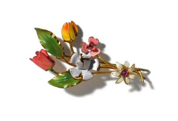 Austrian crystal brooch, Pink rhinestone daisy center, tulips and rose enamel floral bouquet spray, 1960s late 1950s, marked made in Austria