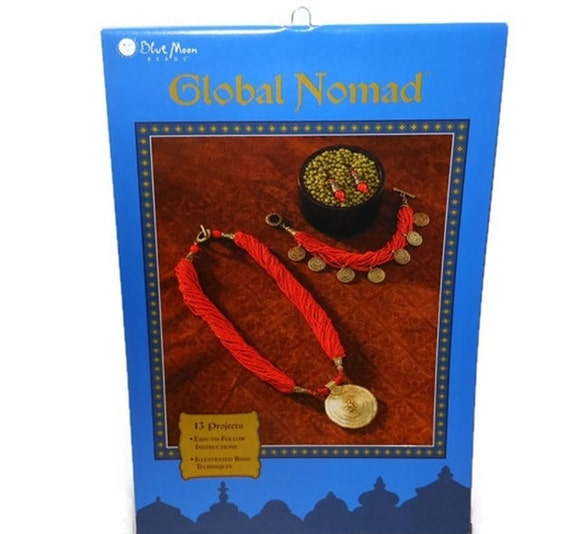 "Jewelry instruction book, ""Global Nomad"" by Blue Moon Beads, 8x5-1/2 inches, softcover, sold individually, 13 projects for inspiration"