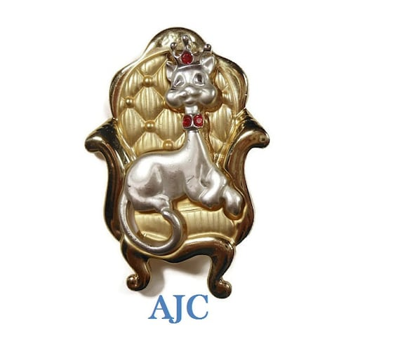 Rare AJC royal cat on throne brooch, red rhinestone tiara and red rhinestone collar silver gold tone gloss and matte finish