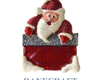Danecraft Santa brooch pin, Santa Claus in red brick enamel chimney with snow, glitter and silver trim, adorable!