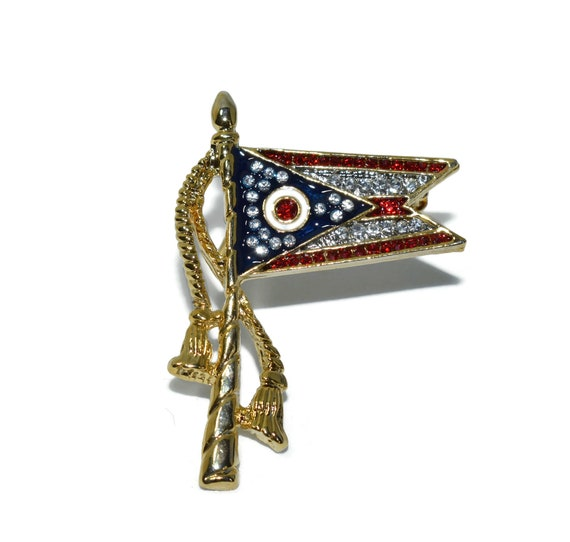 Ohio state flag brooch pin, patriotic red white and blue lapel pin with rhinestones and a swallowtail ending and tassels down the side