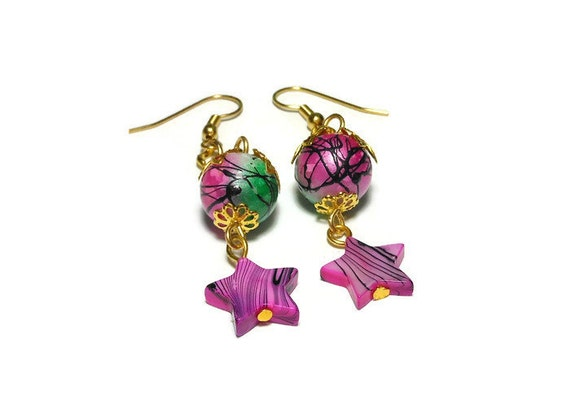 Star earrings, handmade pink mother of pearl stars and pink and green painted glass beads dangle on a gold chain, french hooks