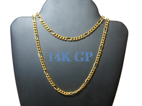 Gold plated chain necklace and bracelet, 14K GP with lobster clasp, curb chain with larger links, Figaro chain
