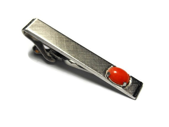 Swank tie clip bar clasp tack or money clip, brushed silver cross hatch pattern, orange prong set cabochon