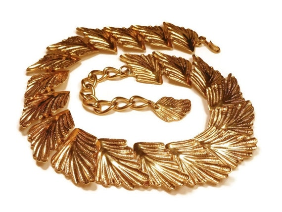 Gold statement choker necklace gold leaves with extender chain