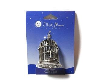 Large birdcage pendant, Blue Moon Beads®, antiqued silver-finished, 42x36mm birdcage focal, bird inside, door opens