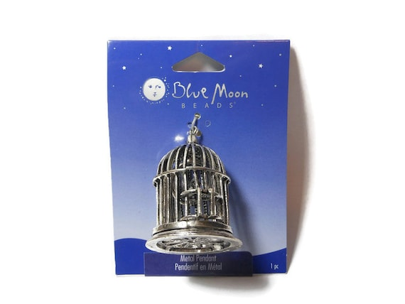 Large birdcage pendant, Blue Moon Beads®, antiqued silver-finished, 42x36mm birdcage focal, bird inside, door opens