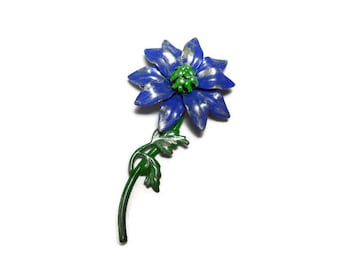 Blue floral brooch pin, enamel daisy like pin, upcycled by adding a wash of light gold antiquing glaze over the blue and green