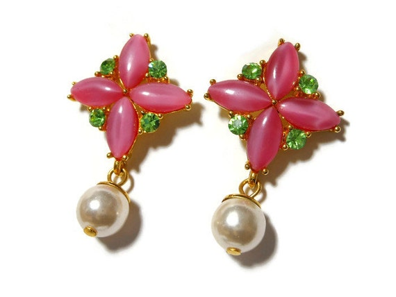 Pink cross earrings, pink glass navettes in the shape of a cross, green rhinestones adangling white glass pearl, pierced post