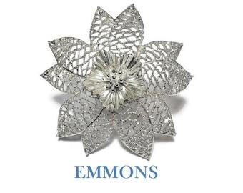 Emmons large floral brooch, 1960s statement piece, filigree open work petals, interior fluted petals encircle stamen, great wedding pin