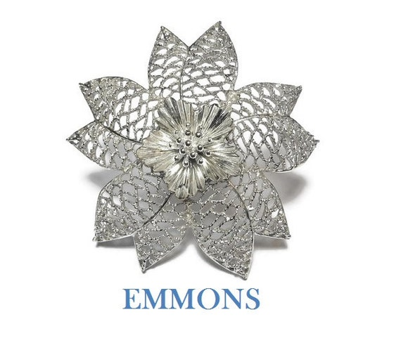 Emmons large floral brooch, 1960s statement piece, filigree open work petals, interior fluted petals encircle stamen, great wedding pin