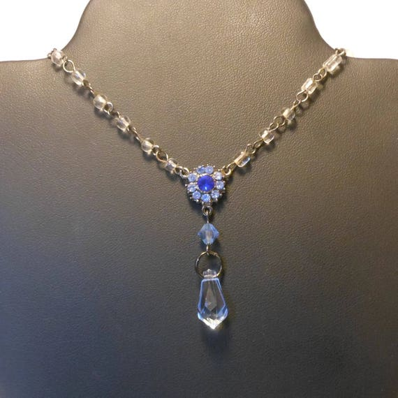 Blue crystal necklace, up-cycled vintage glass beads rhinestone center, blue Swarovski crystal briolette, gunmetal chain