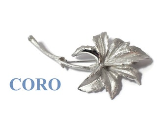 Coro Pegasus leaf brooch, silver matte textured leaf with branch