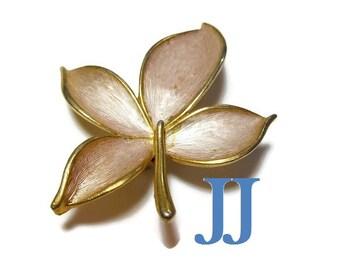 JJ leaf brooch, Jonette Company, gold leaf pin, brushed silver enamel, signed figural pin