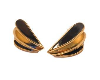 Trifari 1980S earrings, black and gold, glossy black enamel and gold tone, pierced earrings