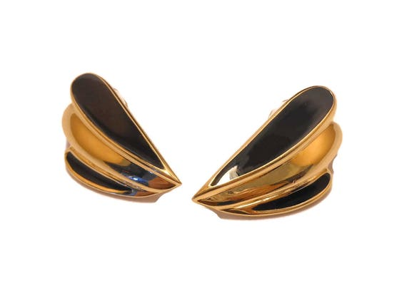 Trifari 1980S earrings, black and gold, glossy black enamel and gold tone, pierced earrings